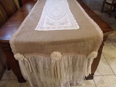 Burlap Runner with Lace | 28x124 Burlap & Lace Table Runner by EwcHomeDesigns on Etsy, $95.00