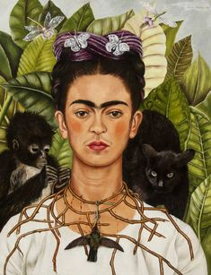 The First-Ever Frida Kahlo Exhibit Is on Display at the Museum of Fine Arts. Self‑Portrait with Hummingbird and Thorn. Frida Kahlo (Mexican, Oil on masonite. Museum Of Fine Arts, Museum Of Modern Art, Art Museum, Frida Y Diego Rivera, Frida Kahlo Exhibit, Kahlo Paintings, Kunsthistorisches Museum, Frida Art, Most Famous Paintings
