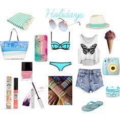Beach day by michaelalove3 on Polyvore featuring polyvore fashion style Milly Tamara Comolli Domo Beads Flash Tattoos Casetify rag & bone Full Tilt TheBalm Blinc Butter London Polaroid