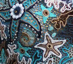 """Купить Топ """"Морская волна"""" - голубой, рисунок, ирландское кружево, летний топ, летняя одежда"""