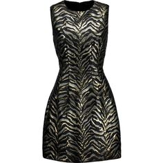 Roberto Cavalli - Metallic Brocade Mini Dress ($481) ❤ liked on Polyvore featuring dresses, vestidos, black, metallic print dress, pattern dress, zipper dress, tailored dress and zip dress
