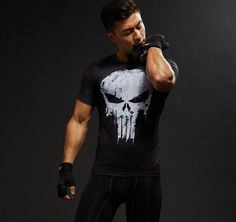 Fitness Body Building Male Crossfit Tops Skull Shirts