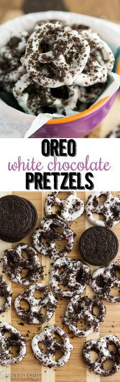 Oreo White Chocolate Pretzels - an easy foolproof treat using chocolate dipped pretzels and Oreo cookies! Great for snacking or homemade gifts! I think that this is a snack Yummy Snacks, Yummy Treats, Delicious Desserts, Sweet Treats, Snack Recipes, Dessert Recipes, Yummy Food, White Chocolate Pretzels, Chocolate Covered