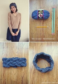 Anthropologie inspired knitting pattern for a cabled headband. My first ever cabling project. It was easy!