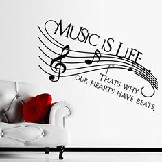 Music Life Heart Beats Symbol Note Wall Art Stickers Decals Vinyl Home Room Deco. - Music Life Heart Beats Symbol Note Wall Art Stickers Decals Vinyl Home Room Deco - Theme Tattoo, Music Crafts, Music Decor, Music Tattoos, Vinyl Wall Decals, Vinyl Art, Wall Decal Quotes, Music Notes, Music Music