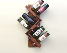 Wine Rack, Wall Wine Rack, Rustic Wine Rack, Wood Wine Rack - Golden Oak Stain