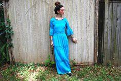 Vintage Mid Century Boho Hippie 60er Teal Kleid von ThriftShark