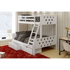 Donco Kids Circles Twin Over Full Bunk Bed with Under Bed Storage Drawers