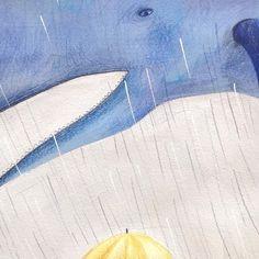 Ogni nuvola ha una forma: la mia ha quella di una balena 🐳 #piove #whale #illustration #signorfox #childrenillustration #alboillustrato #childrenbook #ceciliacavallini #yellow #blue #rain