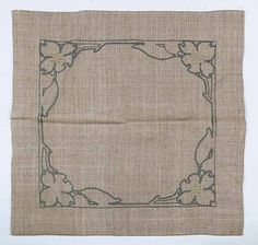 "Newcomb College - Elizabeth G. Rogers Palfrey (Attributed) - Magnolia Flower Lamp Mat. Embroidered Linen. Circa 1910. 15-1/2"" x 15-1/2""."