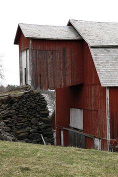 Old red barn with extension to access the loft.