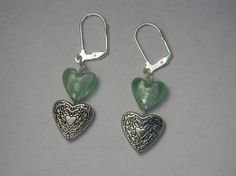 Green and silver heart dangle earrings by NonSequiturShoppe, $12.00