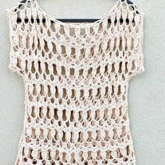 Cómo tejer chaleco crochet fácil - Handwork Diy Crochet Blouse, Knit Crochet, Crochet Summer, Crochet Handbags, Diy Tutorial, Crop Tops, Knitting, Lace, Sweaters