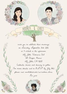 Custom illustrated wedding invitation by amy wang