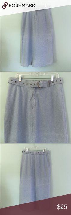 "Liz Claiborne Maxi Denim Skirt Liz Claiborne Light Denim Maxi Modesty Skirt // sz 12 // 100% cotton // comes with matching belt //  17-17.5"" waist laid flat / 37.5"" length // 23.75"" hip laid flat // not my size. Can't model. // non-smoking home  // Bundle Discounts // Same Day or Next Day Shipping!! 6.26.36 / 3.25.25 Liz Claiborne Skirts Maxi"