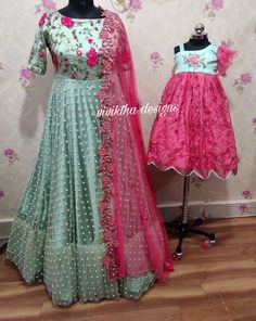 Mom and daughter ethnic outfit by viviktha # ethnic mom and me # mom and daughter ethnic ensemble # mom and me matching dresse