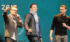 Matthew Lewis with Jason Isaacs and Tom Felton during the forth annual celebration of Harry Potter's opening night ceremony on Friday, 27th January 2017 in Universal Orlando, Florida.