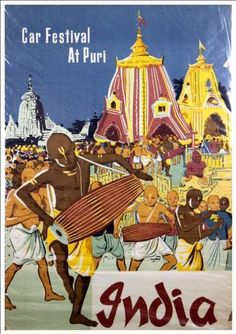 Fantastic A4 Glossy Print - 'India - car Festival At Puri' - Taken From A Rare Vintage Travel Poster (Vintage Travel / Transport Posters) by Unknown http://www.amazon.co.uk/dp/B005THLYKO/ref=cm_sw_r_pi_dp_VEVovb0ZXQ8T9