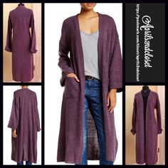 """Long Cardigan Oversized Cape Cardi Coat RETAIL PRICE: $98 NEW WITH TAGS  Long Kimono Cardigan Maxi Cardi Jacket  * Relaxed & Oversized Swing loose knit Silhouette; About 45"""" long.  * Allover super soft cable knit construction.  * Long sleeves & ribbed trim detail.   * Flowy open front  * Wide long sleeves  Fabric: 100% Acrylic  Color: Eggplant (Deep Purple) Item:  No Trades ✅ Offers Considered*✅ *Please use the blue 'offer' button to submit an offer. Boutique Sweaters Cardigans"""