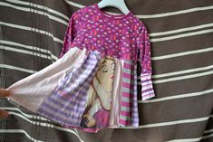 Recy patchwork šatičky Šípková Růženka 2-3 roky Recyklované. Sešívané. Handmade. Nastavované rukávy.