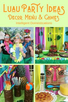 Our Luau Party was the most fun party! We set the mood with Tiki torches, Hibiscus flowers, Tropical leaves, a Tropical Cabana photo banner and a few more Tropical touches. All the details including where to buy the supplies are included. Kids Luau Parties, Luau Party Games, Luau Party Decorations, Luau Theme Party, Hawaiian Luau Party, Fun Party Themes, Hawaiian Birthday, Luau Birthday, Tiki Party