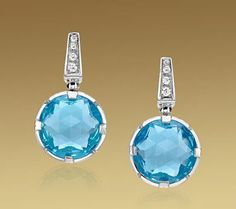 Bvlgari Jewelry - blue topaz earrings, pave diamonds, 2013 collection