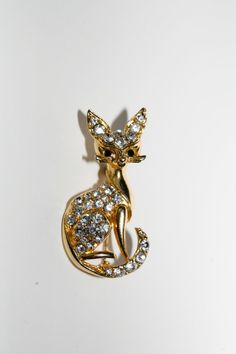 Vintage Cat brooch Rhinestone Brooch Figural by AntiquesNejadStyle, $28.00