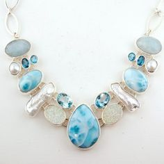 Sterling Silver Necklace With Larimar, Faceted Blue Topaz, Pearlized White Drusy, Aquamarine, And Fresh Water Pearl