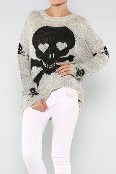 Skull Print Sweater #wholesale #summer #prints #expressions #fashion #clothing #ootd #wiwt #shopitrightnow #skulls #goth #belt