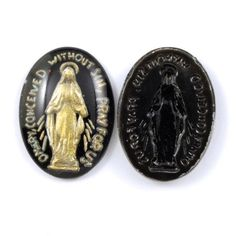 """Vintage glass cabochon. 18mm x 25mm. Oval black glass cabochon with golden Madonna with prayer """"O Mary, conceived without sin, pray for us"""". Made in Germany circa 1950's. No minimum, you name the number. $3.50 each. Available at: http://general-bead.myshopify.com/collections/glass-cabochons/products/626"""
