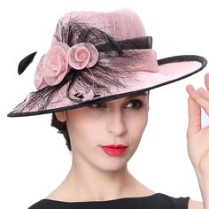 >> Click to Buy << June's Young Women Hats Floral Feather Pattern Wide Brim Pink Color Elegant Lady Wedding Party Fashion Girl Summer Sun Fedoras #Affiliate