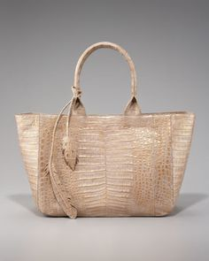 Crocodile Leaf Tote, East-West by Nancy Gonzalez at Bergdorf Goodman. $3,550