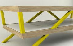 side view of Modern and Minimalist Coffee Table with Double Table Tops