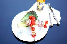 grilled skewers and lettuce hearts with sour cream & blue cheese dressing