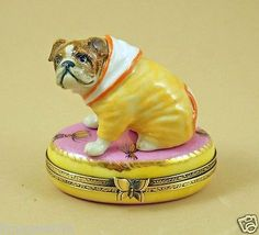 NEW-FRENCH-LIMOGES-BOX-CUTE-DRESSED-UP-BULLDOG-DOG-PUPPY-ON-PINK-RUG-W-TASSELS