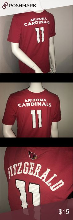 """Youth Larry Fitzgerald jersey style T-shirt sz: XL Thank you for viewing my listing, for sale is a youth/kids, NFL, Arizona Cardinals, Larry Fitzgerald, jersey style, short sleeve, T-shirt.  This is a T-shirt but The screen print looks like a jersey.  Sz: youth XL   If you have any questions or would like additional photos please feel free to ask.  From under one arm to under the other measures appx 19""""from the top of the shoulder to the bottom of the shirt measures appx 25"""" NFL Shirts…"""