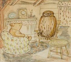 It's an original drawing of (Winnie) Pooh visiting in Owl's parlour by no other than Ernest H. Shepard (1879-1976)