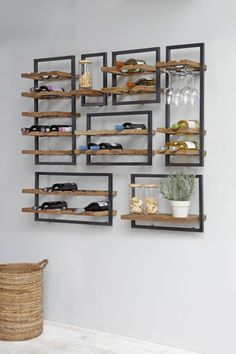 BluBambu Living focuses on rustic, reclaimed furniture from Indonesia. Handcrafted pieces that embody traditional methods and modern design from. Wine Bottle Rack, Wine Rack Wall, Bottle Wall, Loft Kitchen, Home Decor Kitchen, Wine Rack Design, Reclaimed Furniture, Dining Room Walls, Wine Storage