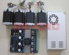 CNC kit 4Axis Stepper Driver TB6560+24V 14.8A Power Supply+290OZ-IN Nema23 motor