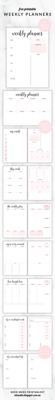 Free Printable Irma Weekly Planners in Blush by Eliza Ellis. With nine different styles, they're the perfect organizing solution for mums, entrepreneurs, bloggers, etsy sellers, professionals, WAHM's, SAHM's, students and moms. Available in 6 colors and both A4 and A5 sizes. Includes week to a page planners as well as week to a spread and two page planners. Enjoy!