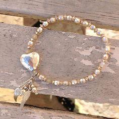 Angel Wing Bracelet Pale Cream Heart Bracelet by RocksCollection