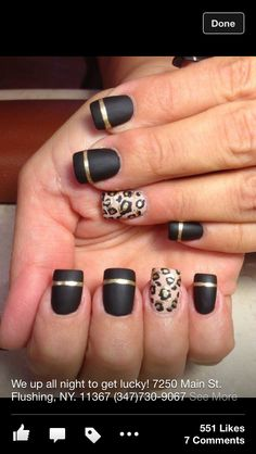 #nails :) #black and #gold  WITH OUT THE LEOPARD PRINT