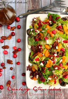Cranberry Citrus Salad with Goat Cheese and Pecans