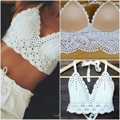 Images of top crochet tutorial español brazilian bikini crochet halter top pattern, crochet bikini top, crochet crop top, sexy XLOIWXQ - Crochet and Knit Débardeurs Au Crochet, Mode Crochet, Crochet Halter Tops, Crochet Bikini Top, Crochet Woman, Crochet Blouse, Diy Crochet Top, White Crochet Top, Crochet Summer