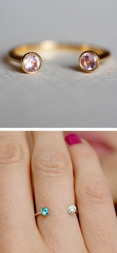 Me + You Birthday Stone Rings. I would get myself this with mine and my mans birthday stone Cute Jewelry, Jewelry Box, Jewelry Rings, Jewelery, Jewelry Accessories, Fashion Accessories, Jewelry Design, Fashion Jewelry, Horseshoe Ring