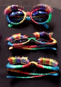 Meadham Kirchhoff studio, Some really cheap sunglasses that Daisy glittered and applied false eyelashes to.