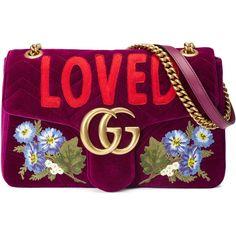 Gucci Gg Marmont Embroidered Velvet Bag (€1.765) ❤ liked on Polyvore featuring bags, handbags, bolsas, gucci, bordeaux, shoulder bags, women, shoulder handbags, shoulder bag purse and embroidered handbags