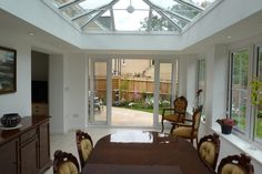 Orangery dining room extension, Norfolk, by Morton WIndows & Conservatories Conservatory Design, Dining Room, Windows, Doors, Outdoor Decor, Google Search, Kitchen, Home Decor, Cooking