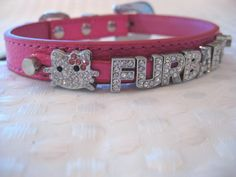 Crystal charm dog collar | add pets name free | bling puppy collar | Crystal Dog Collar | Size XS S M L