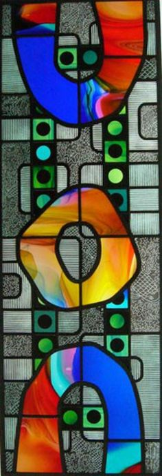 Stained glass by Julian Podmore and Rhiannon Morgan, Mouthblown Lamberts glass, leaded stained glass, painted.
